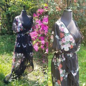 Tobi Floral Faux Wrap Maxi Dress